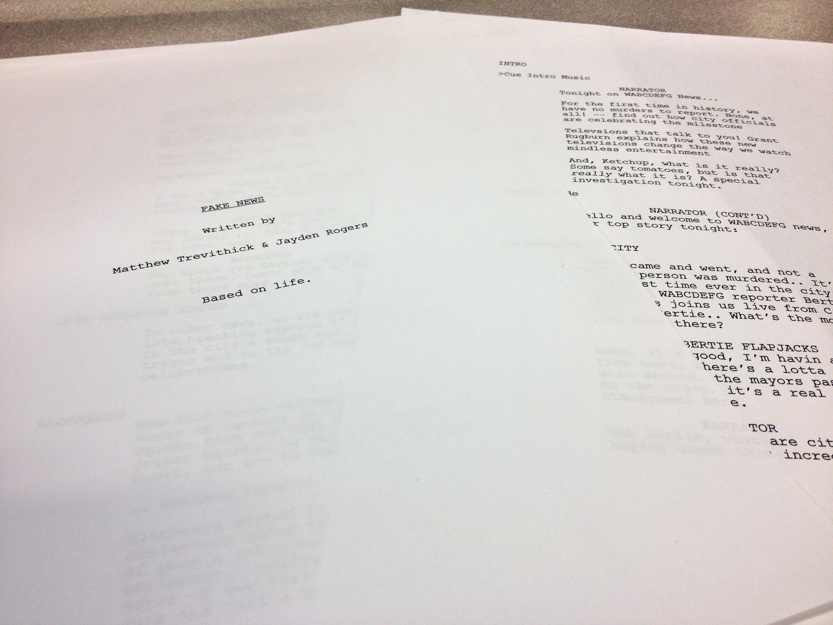 Photo of the paper script.