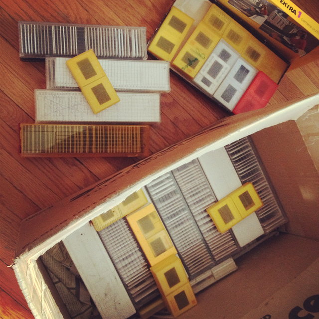 Photo of boxed slides, many Kodachrome.