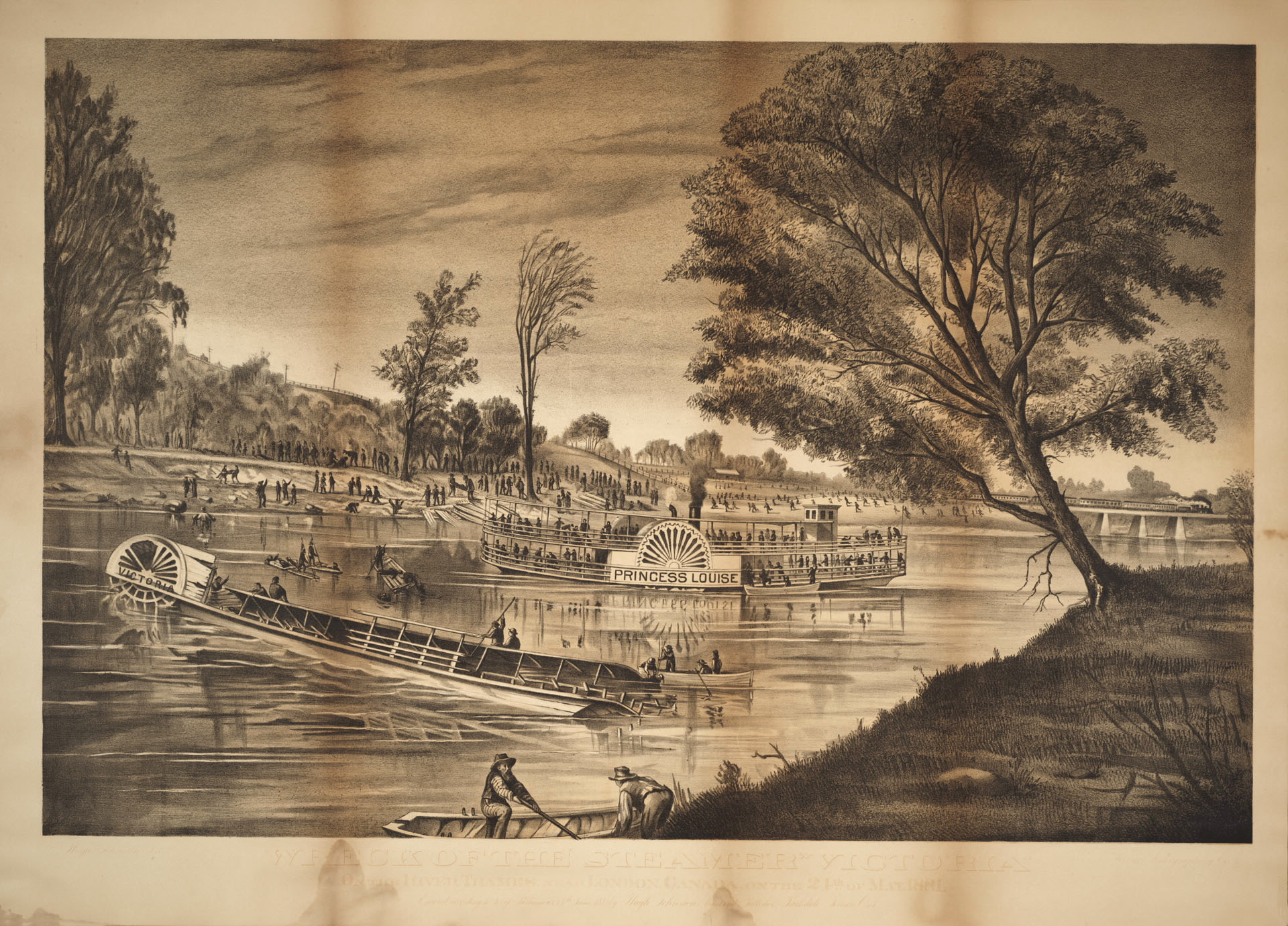 """""""Wreck of the Steamer Victoria"""" - Lithograph by Hugh Johnston of the Toronto Lithographing Co."""